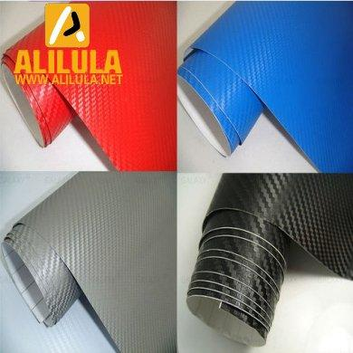 3DTQ-BM, Blue Mettalic High Flexible 1.52m*30m With Air Channel Bubble Free 3D Carbon Vinyl Film
