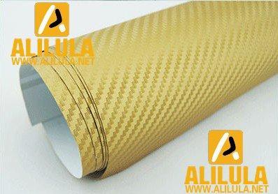3DTQ-G, Gold High Flexible 1.52m*30m With Air Channel Bubble Free 3D Carbon Vinyl Film