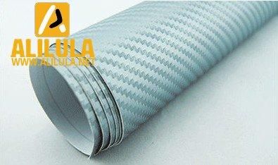 3DTQ-Sl, Silver High Flexible 1.52m*30m With Air Channel Bubble Free 3D Carbon Vinyl Film