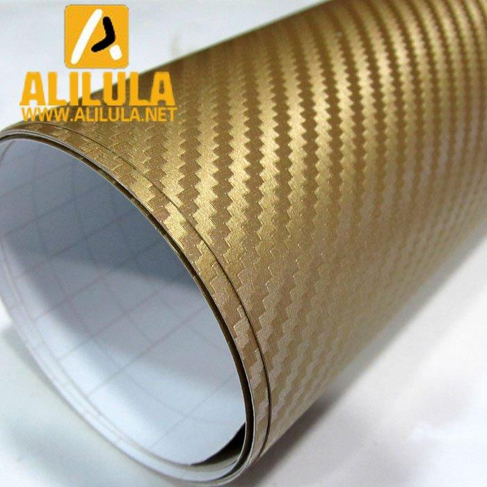 3DTQ-G, Golden High Flexible 1.52m*30m With Air Channel Bubble Free 3D Carbon Vinyl Film
