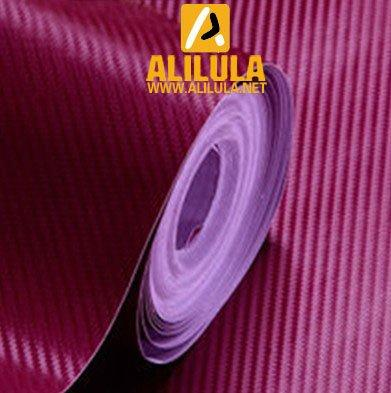 3DTQ-WR, Wine Red High Flexible 1.52m*30m With Air Channel Bubble Free 3D Carbon Vinyl Film