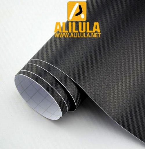TB-B, Black Real Textured High Flexible 1.52m*30m With Air Channel Bubble Free 3D Carbon Vinyl Film