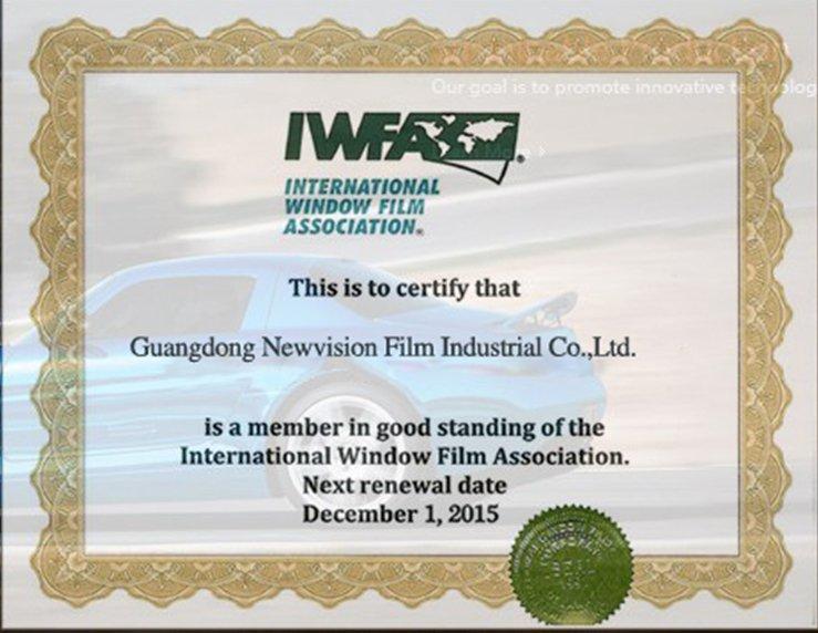 Сертификат Ассоциации Internationl окно фильм