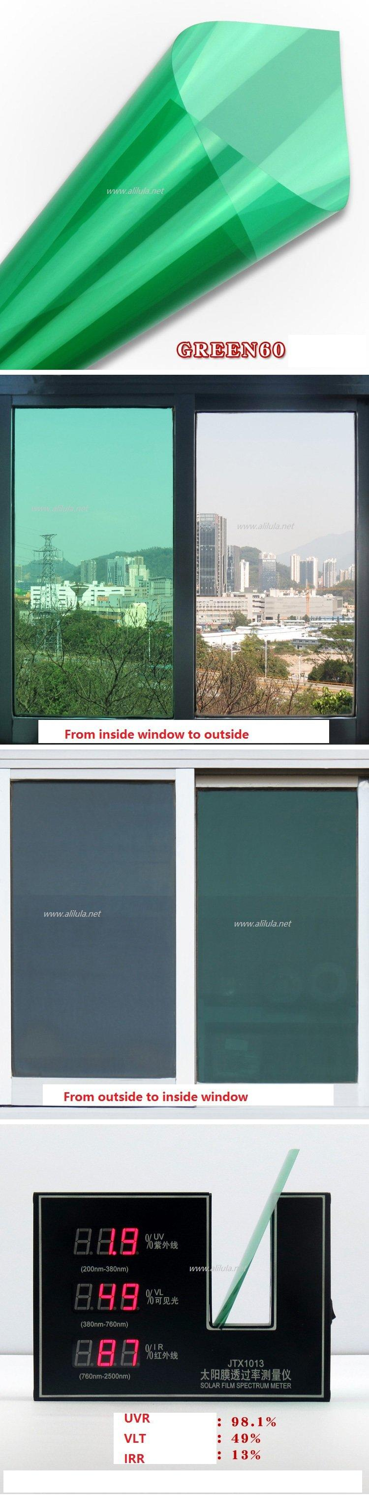 Colored Building window Tint in Green Color, Item:Green60