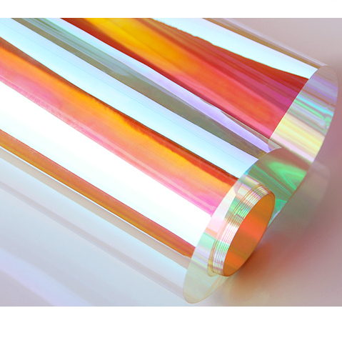Size 1.38*30m self adhesive color change rainbow dichroic building decorative tint film